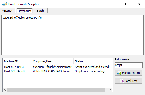 Quick Remote Scripting function